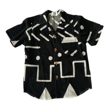 IMARI BUTTON DOWN SHIRT - black abstract