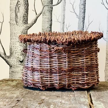 Handmade Willow Basket | Creel Bag | Wicker Basket | Small Basket with Lid | Basket Vase | Wicker Bag | Fly Fishing Creel | Vintage Basket by PiccadillyPrairie