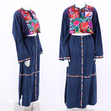 vintage Indigo Cotton Guatemalan Huipil Outfit / embroidered top and skirt handmade dress XL by ritualvintage
