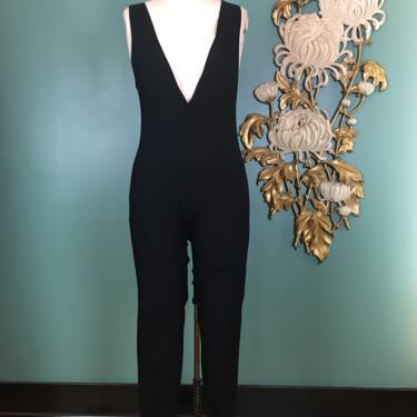 1980s catsuit, plunging neckline, black leotard, vintage catsuit, sleeveless, stirrup pants, petite medium, Azura basics, dance wear, deep v by BlackLabelVintageWA