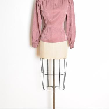 vintage 80s secretary blouse shirt top mauve silk pussy bow ascot Ann Taylor L clothing by huncamuncavintage
