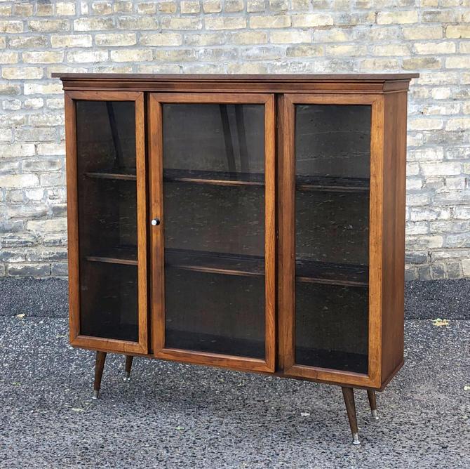 Walnut Bookcase-display Cabinet