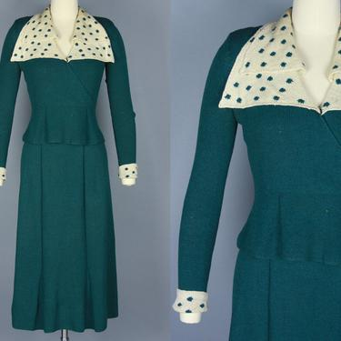 1930s KNIT SET   Vintage 30s Emerald Green Sweater & Skirt with Cream Polka Dot Trim   small / medium by RelicVintageSF