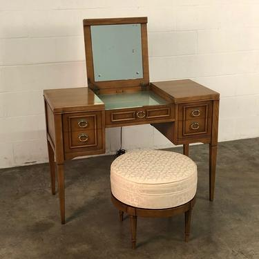 Drexel Intermezzo Mid-Century Modern Desk ~ Lighted Vanity Table With Stool by modernmidcenturyfurn