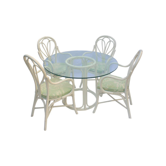 Vintage Boho Chic McGuire Rattan Bistro Style Dining Set - 5 Pieces by MetronomeVintage
