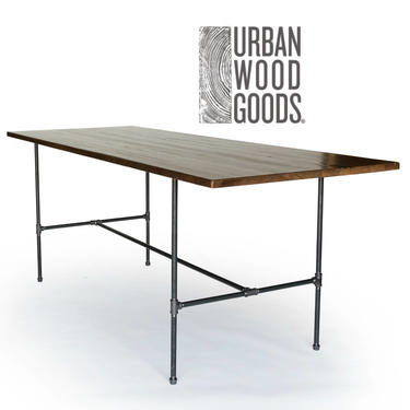 Bar Height Table, High Top Table, Counter Height Table made with reclaimed wood and pipe legs. Choose height, thickness, size and finish. by UrbanWoodGoods