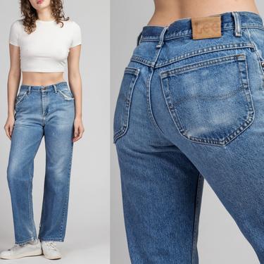 "Vintage Lee Distressed High Waist Jeans - 31"", Men's Small, Women's Medium | 80s Faded Denim Straight Leg Jeans by FlyingAppleVintage"