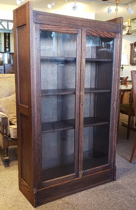 Item #S55 English Oak Glass Door Bookcase c.1910