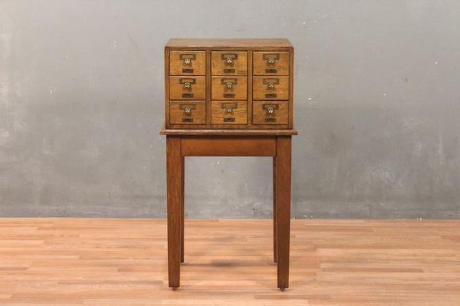 Industrial Pine 9-Drawer Card Catalog & End Table