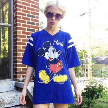 Vintage 80s Velva Sheen Mickey Mouse Florida Disney World Royal Blue + White Raglan Tourist Tee T-Shirt M by VernasVintageShop