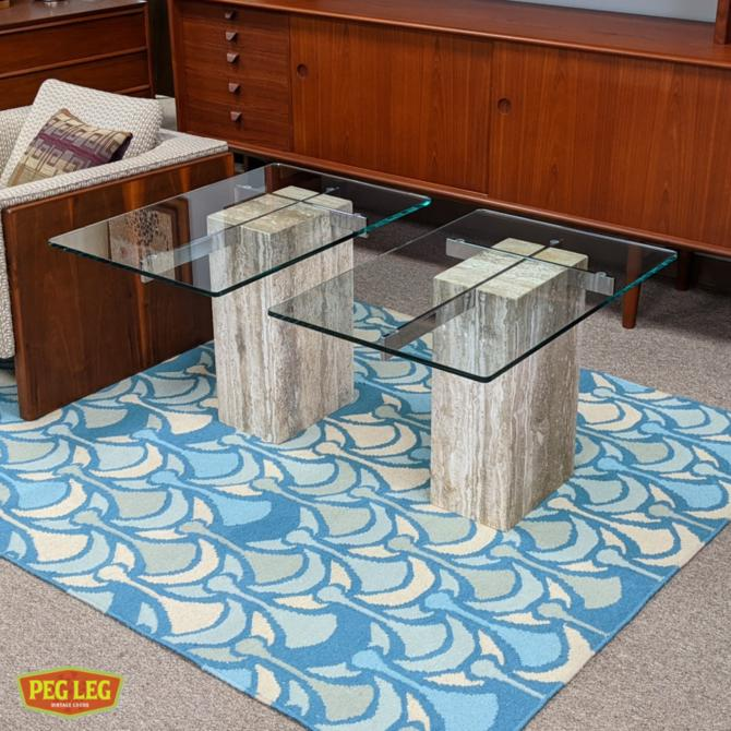 Pair of vintage Italian glass-top side tables with travertine and chrome bases by Artedi