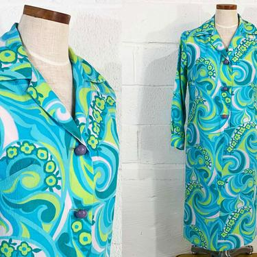 Vintage Psychedelic Green Dress Blue Button Front Housecoat Mod Long Sleeve Boho Festival Party Shift 1960s 60s Large by CheckEngineVintage
