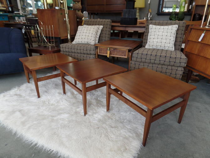 Mid Century Walnut Square Side Table By American Of Martinsville