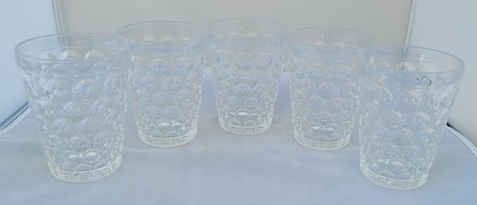 Antique or Vintage Clear Bubble Glasses - Set of 5