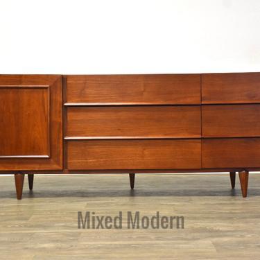 Walnut Mid Century Modern Dresser Credenza by mixedmodern1
