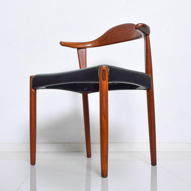 Mid Century Danish Modern Cow Horn Teak Chairs Pair, after Hans J Wegner by AMBIANIC