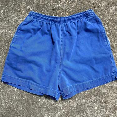 90's 100% cotton high waisted sports shorts~ elastic drawstring waist with pockets~ gym shorts activewear~  size 4-6 washed out-blue by HattiesVintagePDX
