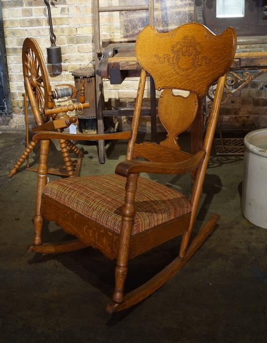 Antique Rocker w Carved Back