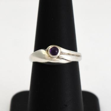 Dainty 70's sterling amethyst size 6.75 Modernist wrapped flower band, artisan made 925 silver purple cab abstract floral ring by BetseysBeauties