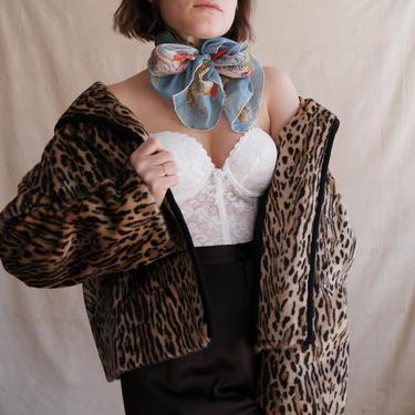 Vintage 60s Leopard Print Faux Fur Coat/ 1960s Mod Animal Print Short Jacket/ Size Medium Large by bottleofbread