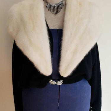 1950s Black Cashmere Cardigan White Mink Fur Collar / 50s Button Down Sweater Barton Mills / Large by RareJuleVintage