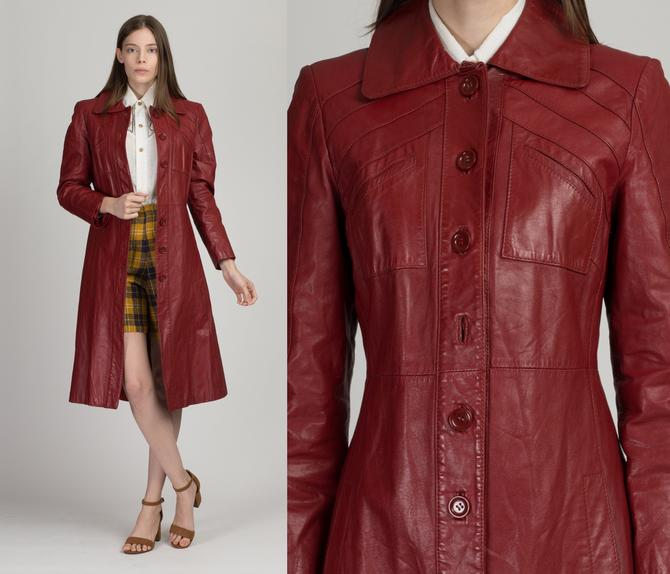 70s Long Oxblood Red Leather Jacket - Small   Vintage Women's Notched Collar Button Up Trench Coat by FlyingAppleVintage