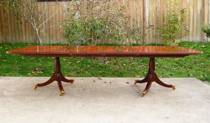 "MAITLAND SMITH 120"" FLAME MAHOGANY DOUBLE PEDESTAL DINING ROOM TABLE Regency"