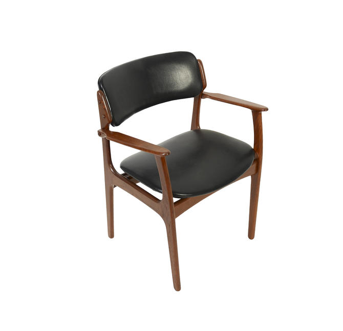 Teak Arm Chair Erik Buck Danish Modern OD Mobler Dining Chair Black Leather by HearthsideHome