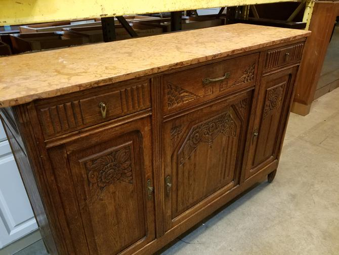 Antique Wood Sideboard with Marble Top 39.75 x 59 x 19