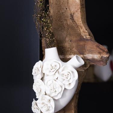 'Rose' Porcelain Anatomical Heart Wall Vase