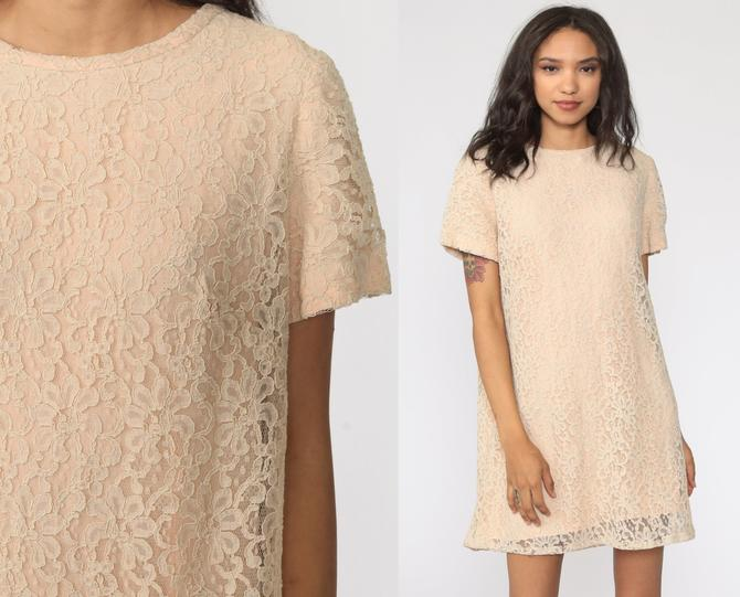 Beige Lace Dress 60s Mini Boho Hippie Mod Party Short Sleeve Bohemian Wedding 1960s Vintage Shift Medium by ShopExile