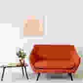 Orange Tweed Loveseat Sofa