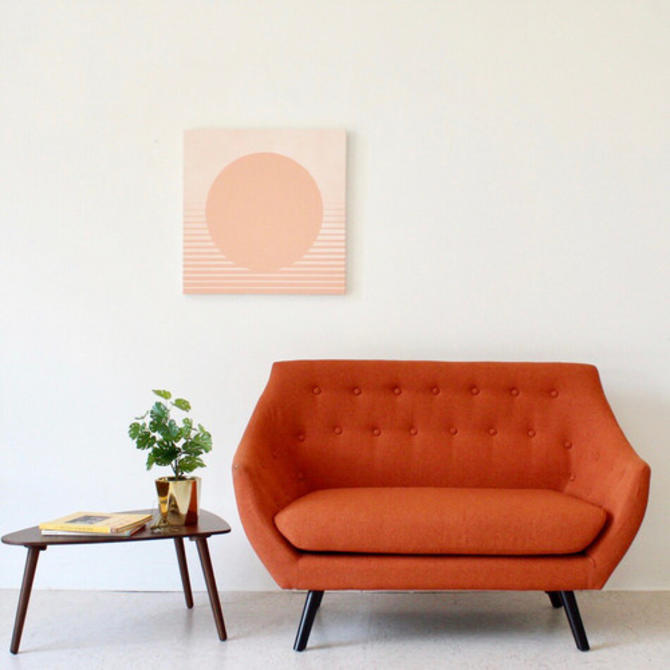Magnificent Orange Tweed Loveseat Sofa From Sunbeam Vintage Of Highland Pabps2019 Chair Design Images Pabps2019Com