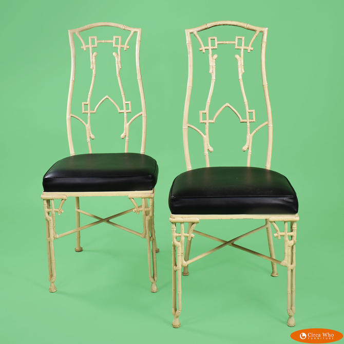 Pair of Faux Bamboo Metal Chairs