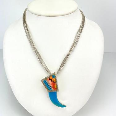 Vintage Navajo Turquoise Spiny Oyster Inlay Bear Claw Sterling Silver Necklace by HouseofVintageOnline