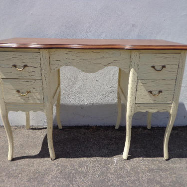 Antique Desk Table Vintage Regency French Provincial Writing Set Vanity Shabby Chic Desk Dresser Sewing Stand Neoclassic CUSTOM PAINT AVAIL by DejaVuDecors