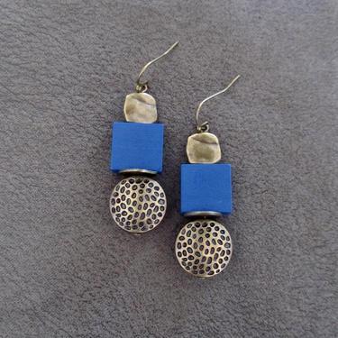 Blue wood, brass animal print earrings, Afrocentric dangle earrings, mid century modern earrings, African earrings, bold statement, unique by Afrocasian