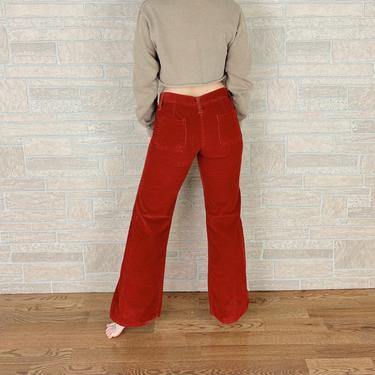 60's Rust Corduroy Low Rise Bell Bottom Pants / Size 26 27 by NoteworthyGarments