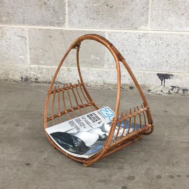 Vintage Magazine Rack Retro 1970s rattan and Straw + Woven Basket with Top Handle + by RetrospectVintage215