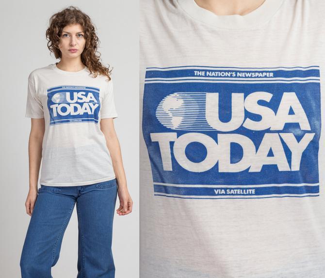 Vintage 1984 USA Today Via Satellite T Shirt - Medium   Vintage Burnout White Graphic Newspaper Tee by FlyingAppleVintage