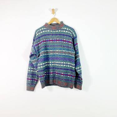 Vintage Lord & Taylor Gray Shetland Wool Fair Isle Pullover Sweater, Large by Northforkvintageshop