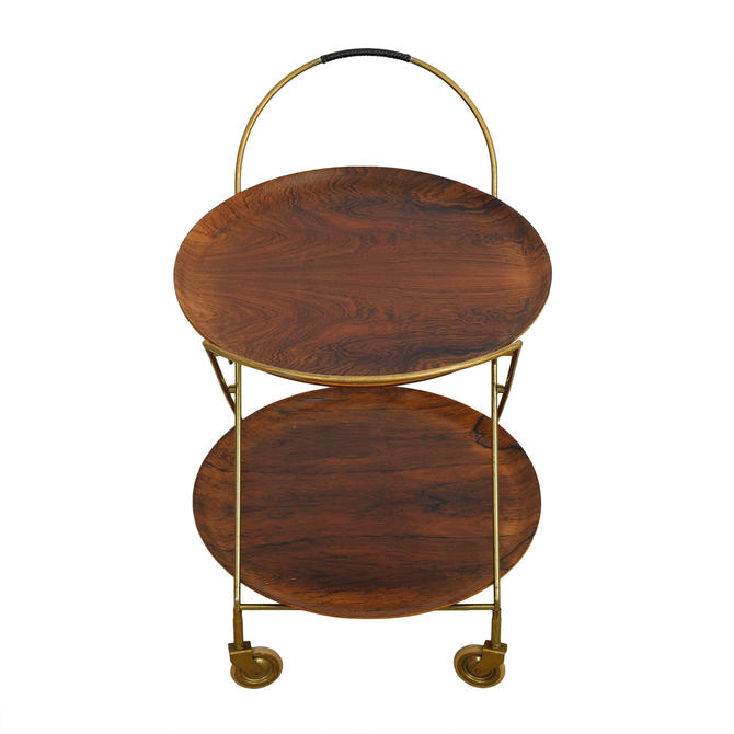 Rosewood and Brass Bar – Cocktail Cart w/ Removable Serving Trays
