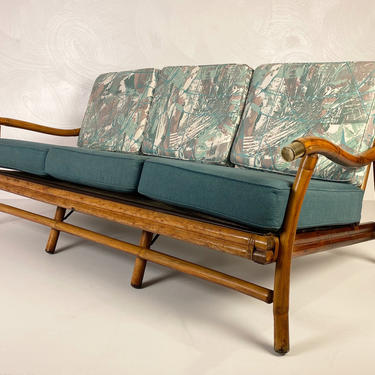 Vintage Bamboo Sofa with brass accents, circa 1950s - *Please see notes on shipping before you purchase. by CoolCatVintagePA