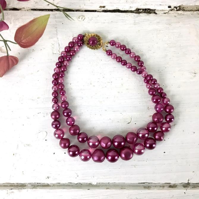 Magenta double strand beaded necklace - 1960s vintage costume jewelry by NextStageVintage