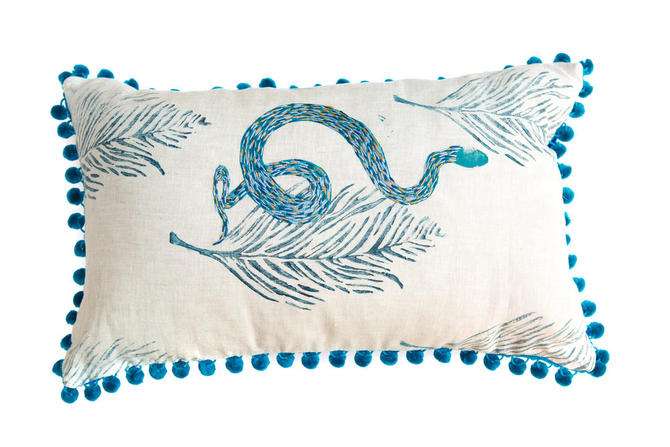 Embroidered River Snake Pillow in Lavender and Gold