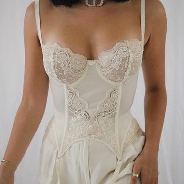 Vintage Silk + Lace La Perla Bustier - Corset Top - 34D/36C/32DD by LadyLVintageCo