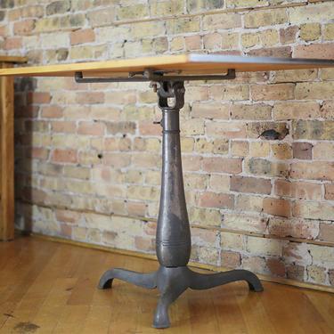 vintage drafting table desk, cast iron tripod base, restored by jeglova