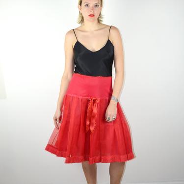Vintage 50s Crinoline Petticoat Red Skirt Slip / 1950s Vintage Pleated Lingerie Half Slip Pin Up Pinup Medium 1960s 60s Peignoir Rockabilly by ErraticStaticVintage