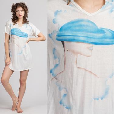 80s Fashionista Graphic Sleep Shirt - One Size | Vintage V Neck White Fancy Lady Tee by FlyingAppleVintage