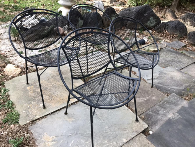Mid Century Modern Wrough Iron Patio Salterini Radar chairs by DanishGarage